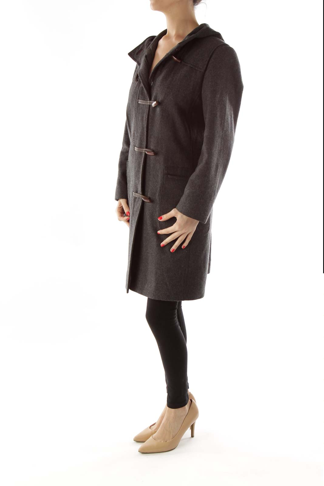 Gray Pocketed Hooded Duffle Coat