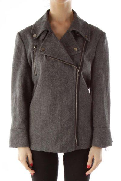 Gray & Black Motorcycle Tweed Jacket