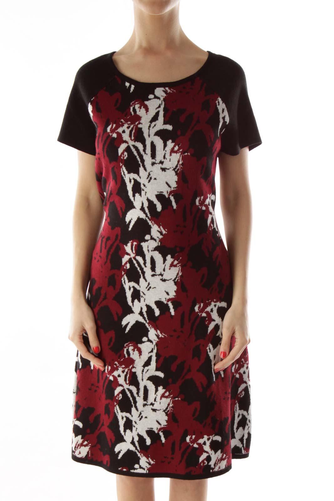 Black & Red Floral Knit Dress