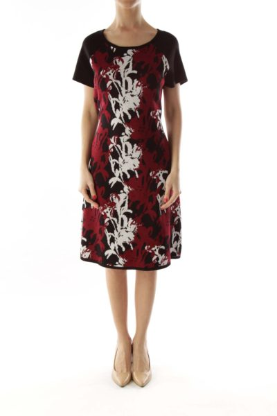 Black & Red Floral Knit Dress