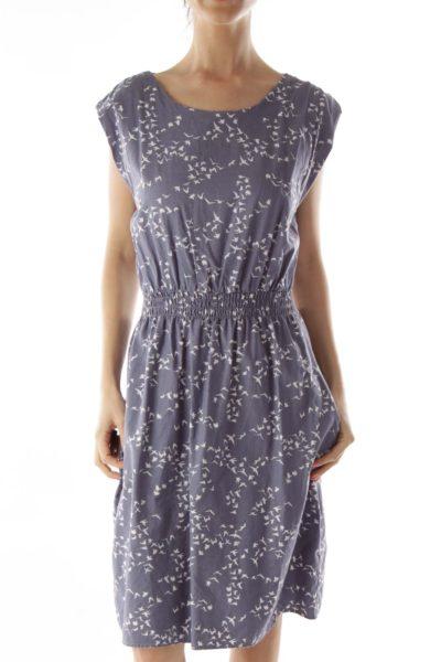 Blue Bird Print Scrunched Dress