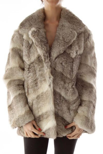 Multicolor Rabbit Fur Coat
