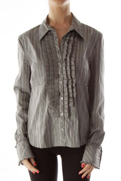 Gray Pinstriped Ruffled Button Up