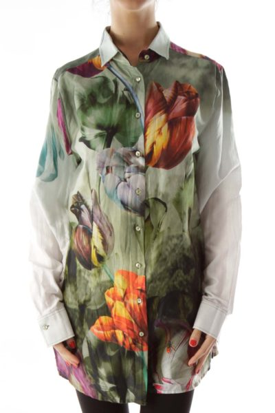 Green Multicolor Floral Button Up