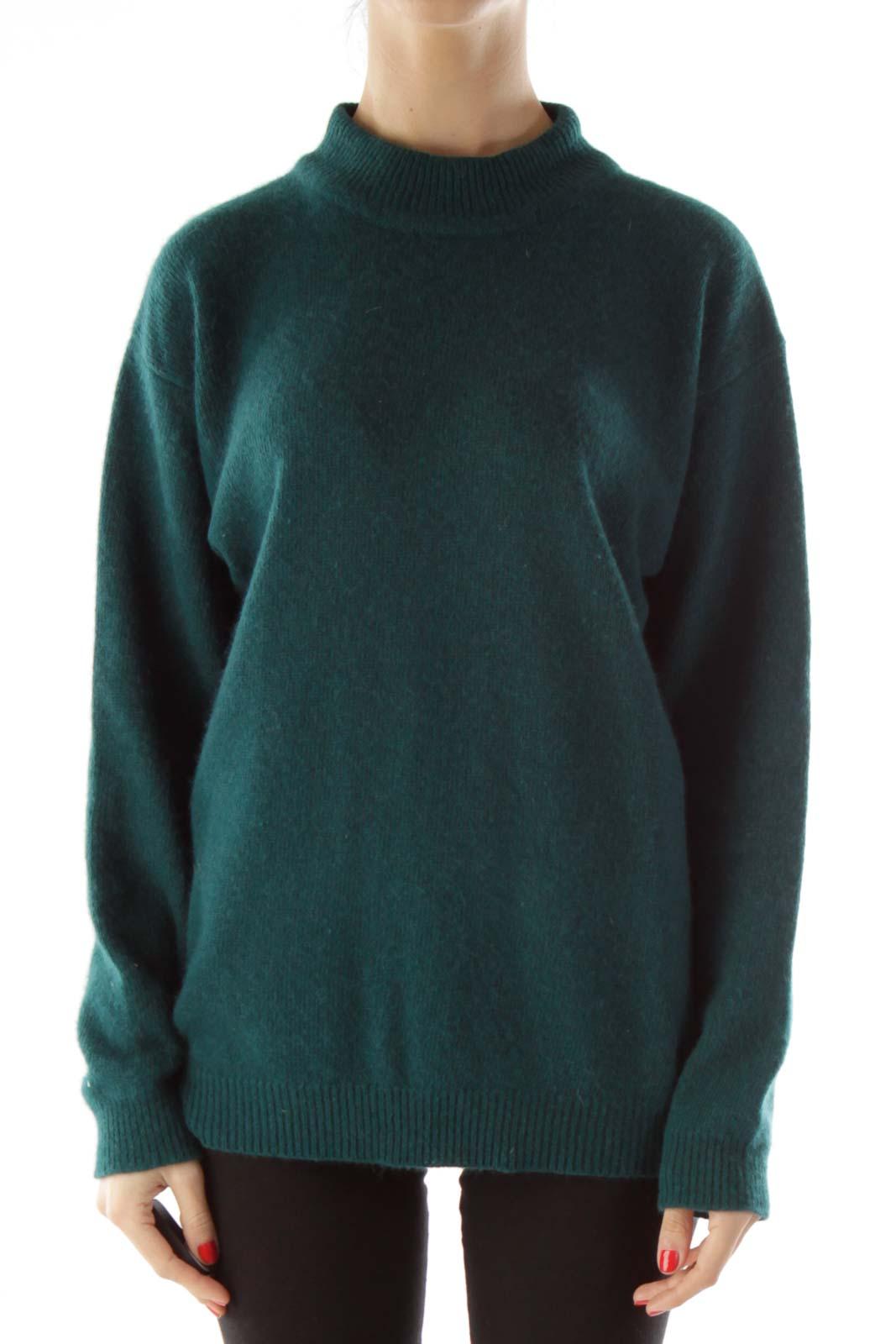 Green Knit Mock Turtleneck