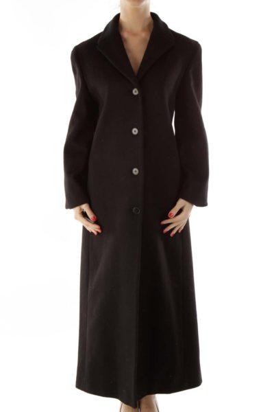 Black Buttoned Long Coat