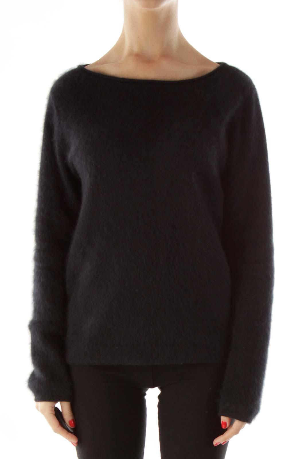 Black Rabbit Hair Knit Sweater