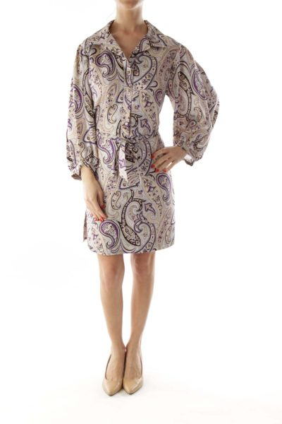 Beige and Purple Paisely Silk Dress