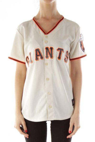 Beige Embroidered Giants Baseball Jersey