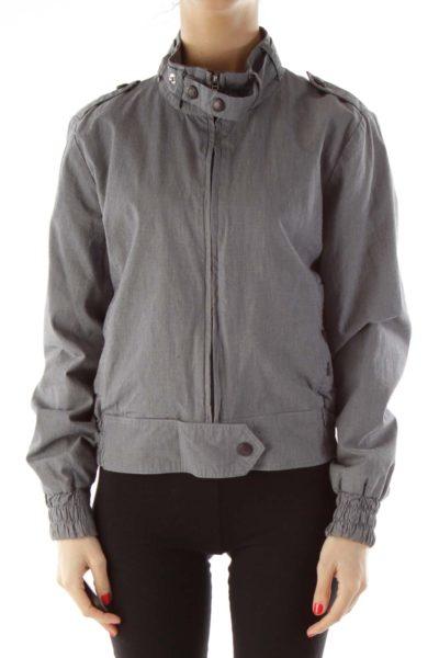 Gray & Black Gingham Bomber Jacket