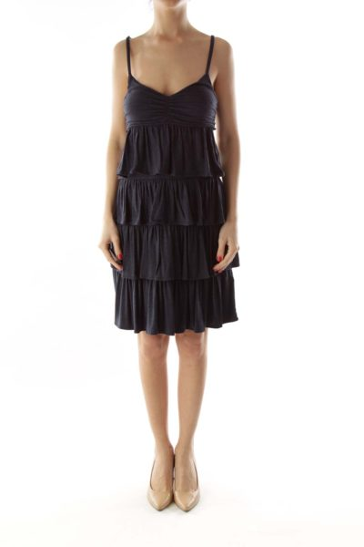 Navy Ruffled Spaghetti Strap Day Dress