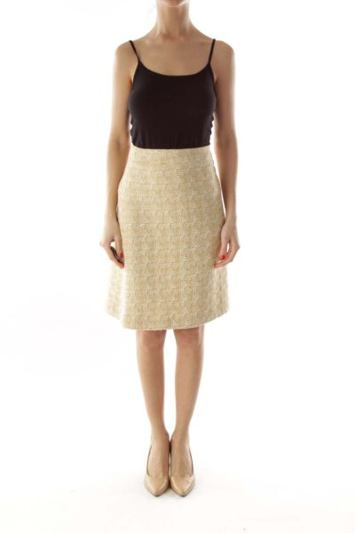 Yellow Brown Tweed A-Line Skirt