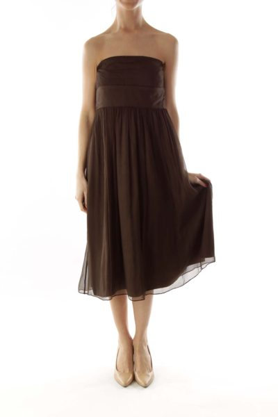 Brown Silk Strapless Dress