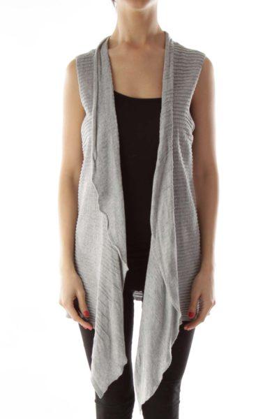 Gray Striped Knit Vest