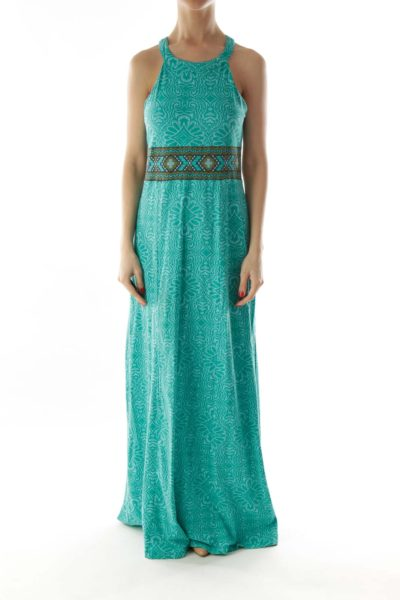 Green Brown Floral Bow Halter Maxi Dress