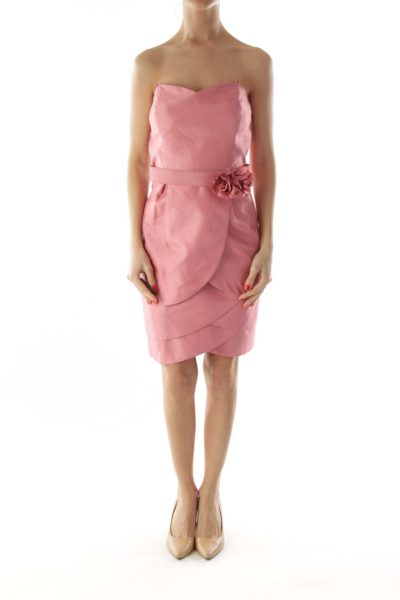 Pink Belted Layered Strapless Dress