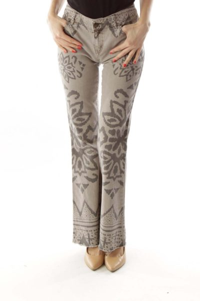 Gray Flower Flared Jeans