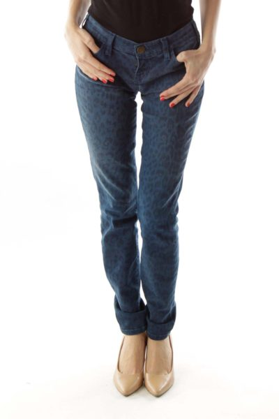 Blue Black Leopard Print Skinny Jeans