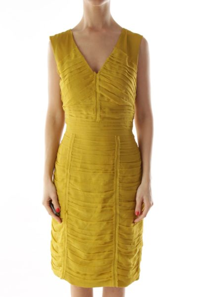 Yellow Pleated V-Neck Dress