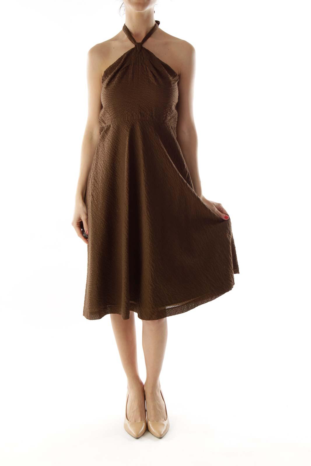Brown Textured Halter Dress