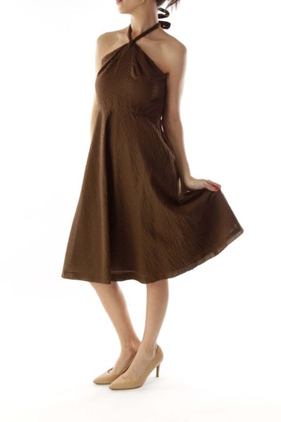 Brown Textured Halter Dress