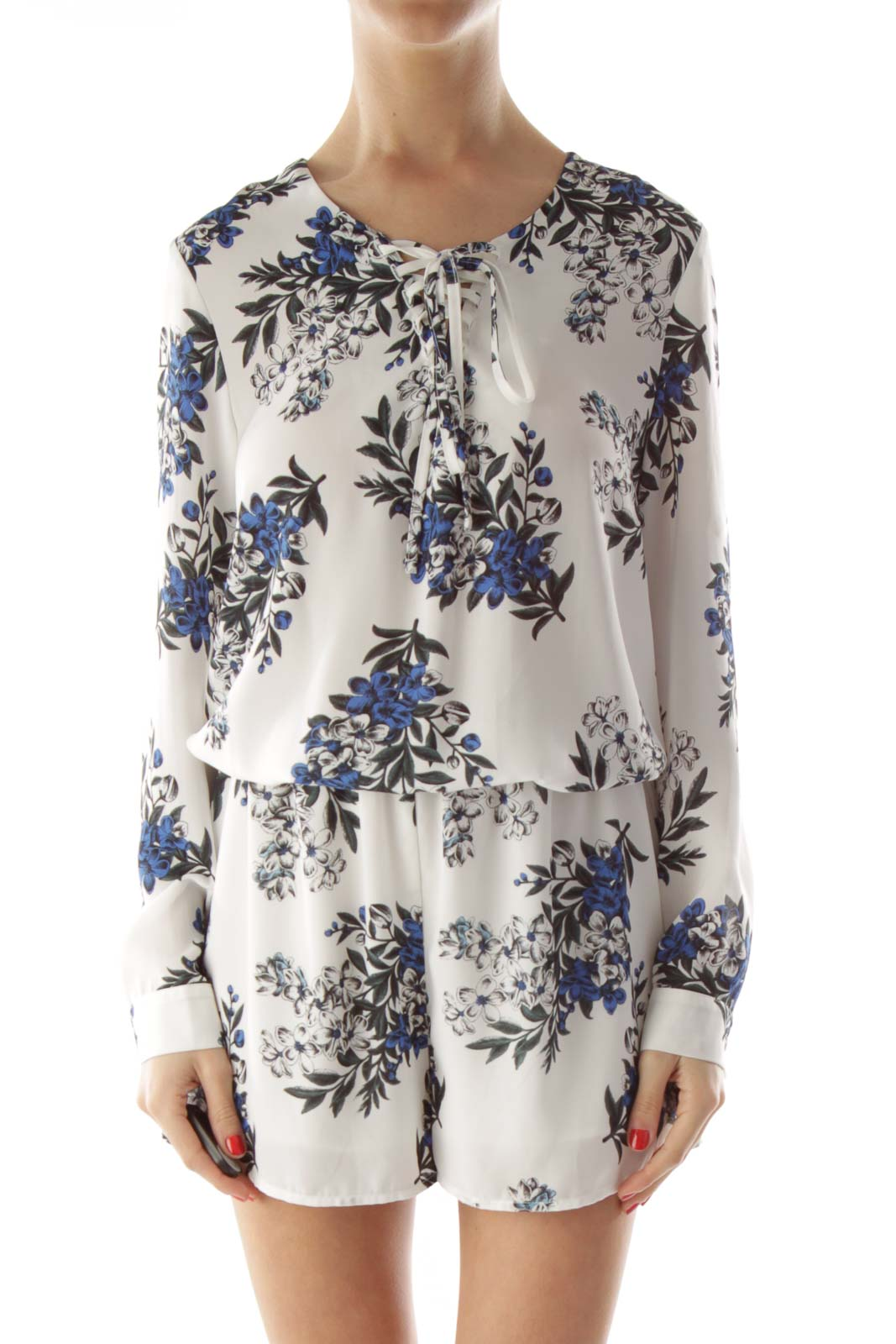 White Blue Drawstring Flower Print Dress