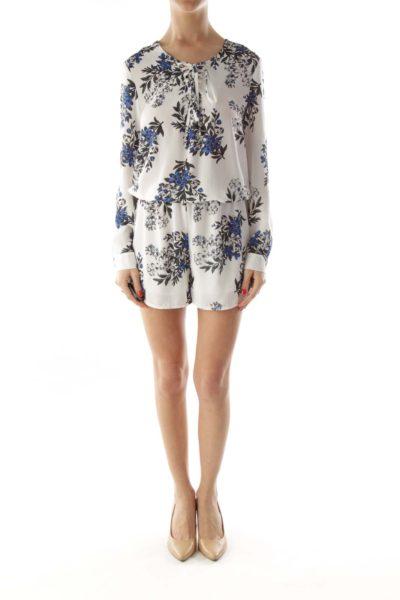 White Blue Drawstring Flower Print Dress