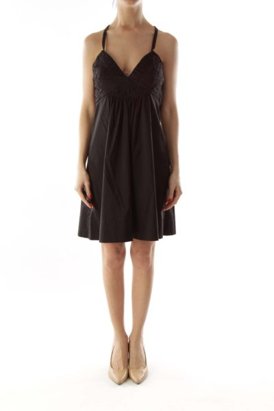 Black Pleated Halter Cocktail Dress