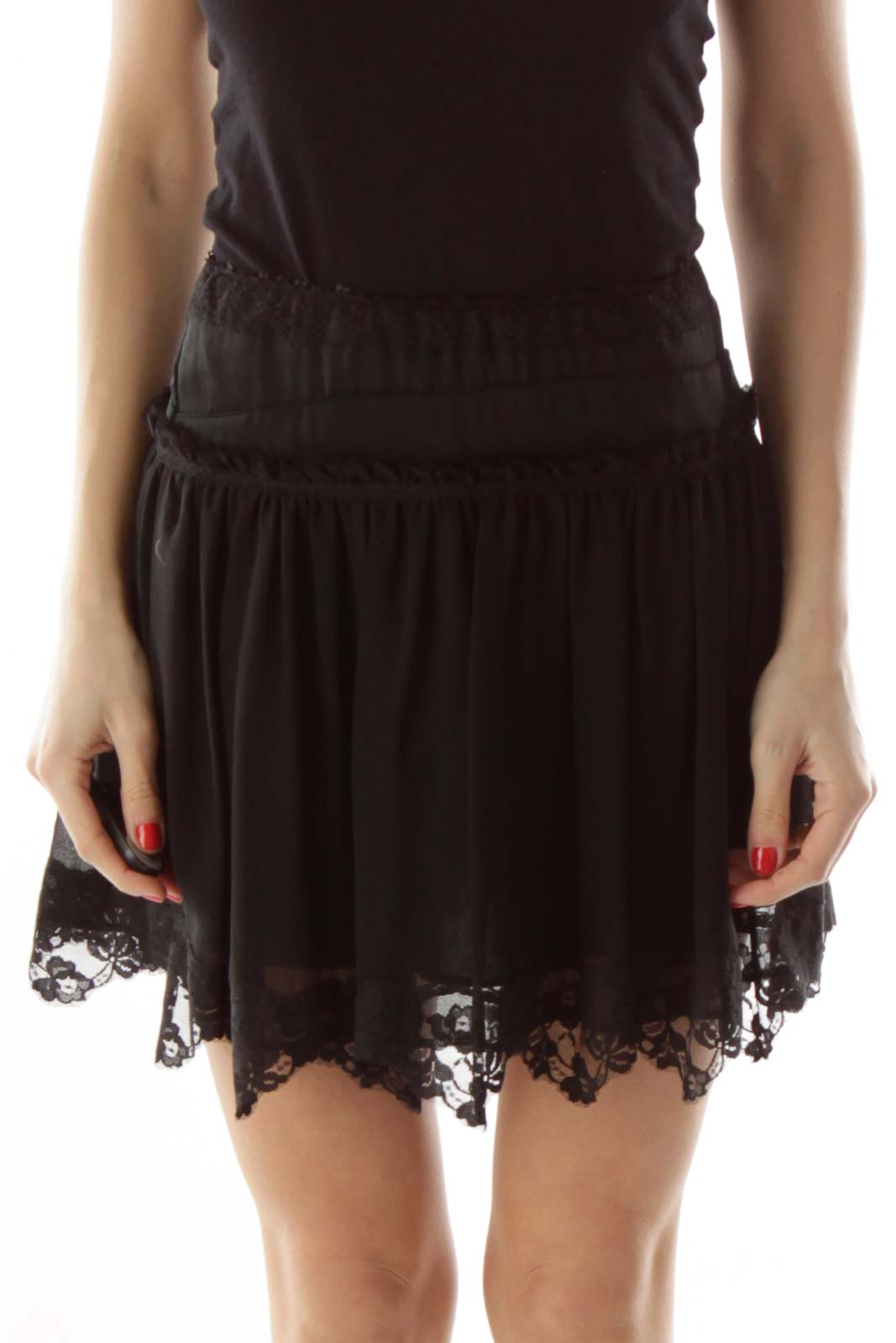 Black Silk Lace Mini Skirt
