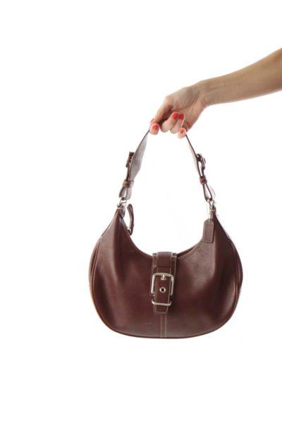 Brown Horseshoe Leather Shoulder Bag