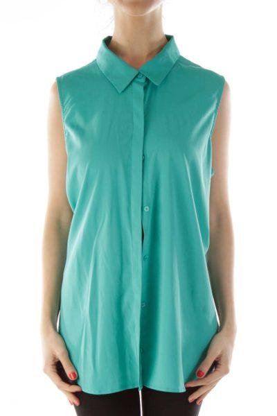 Green Draped Sleeveless Blouse