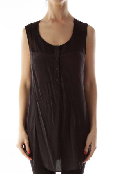 Black Silk See-Through Textured Blouse
