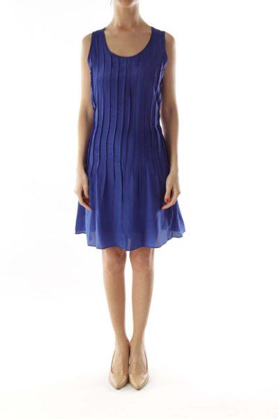 Blue Pleated Silk Day Dress