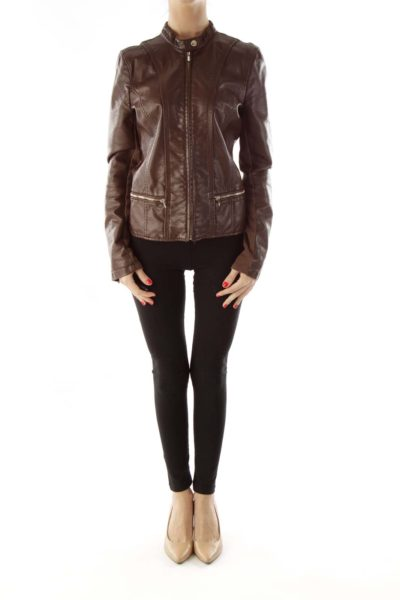 Brown Gold Zipper Leather Jacket