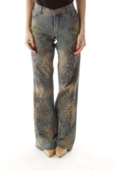 Blue Beaded Flower Flared Jeans