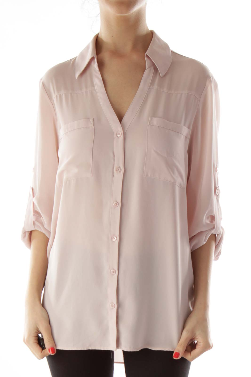 Pink Pocketed Buttoned Up Blouse