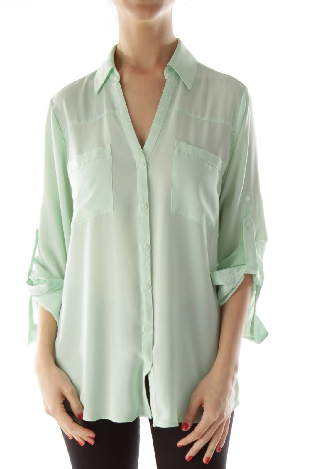 Green Pocketed Buttoned Up Blouse