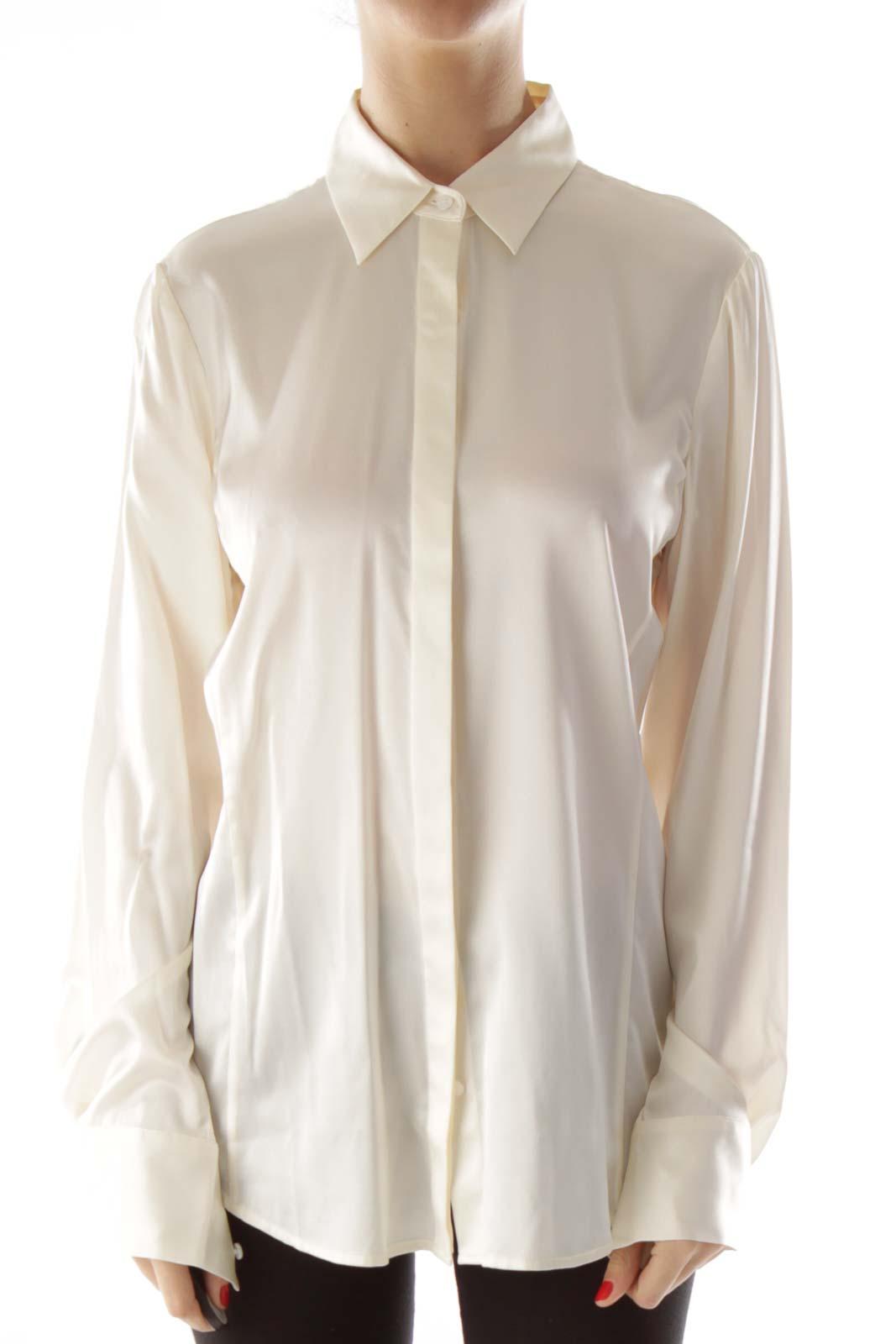 Cream Silk Buttoned Up