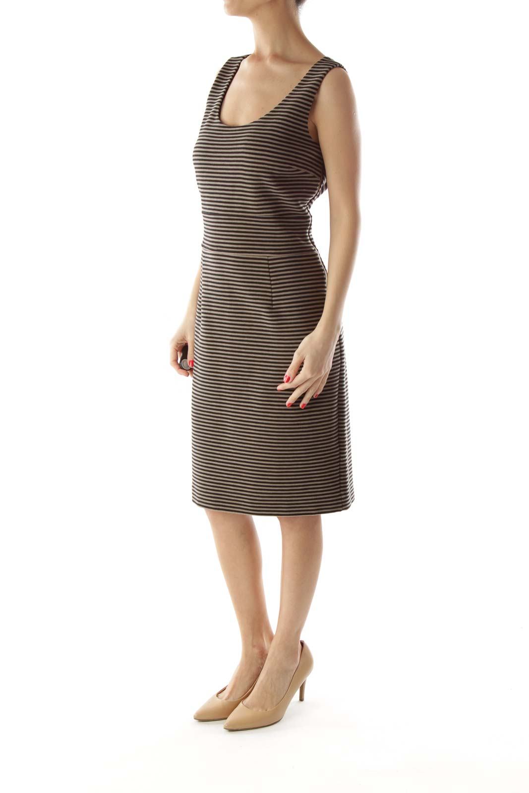 Black & Gray Striped Dress