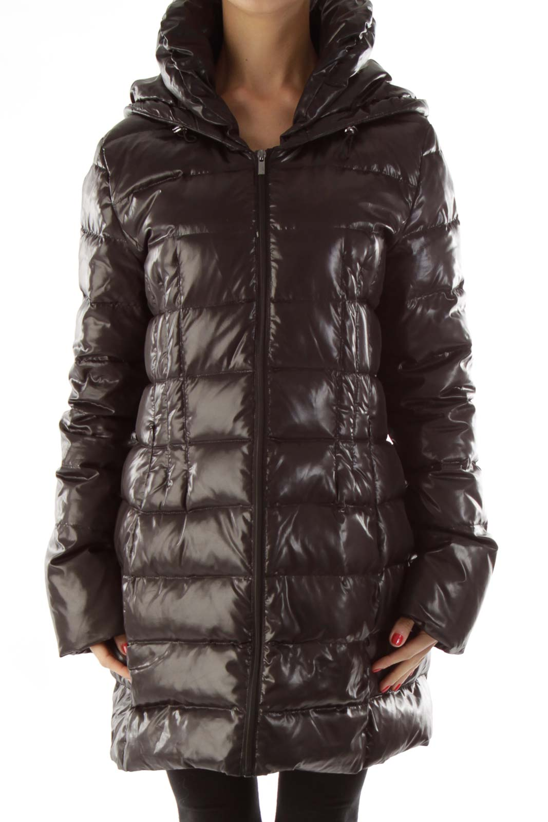 Black Puffy Hooded Jacket