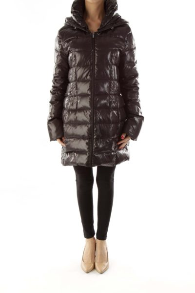 Black Puffy Hooded Jacket