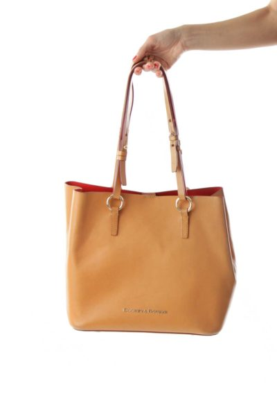 Brown Gold-Detailed Tote Bag
