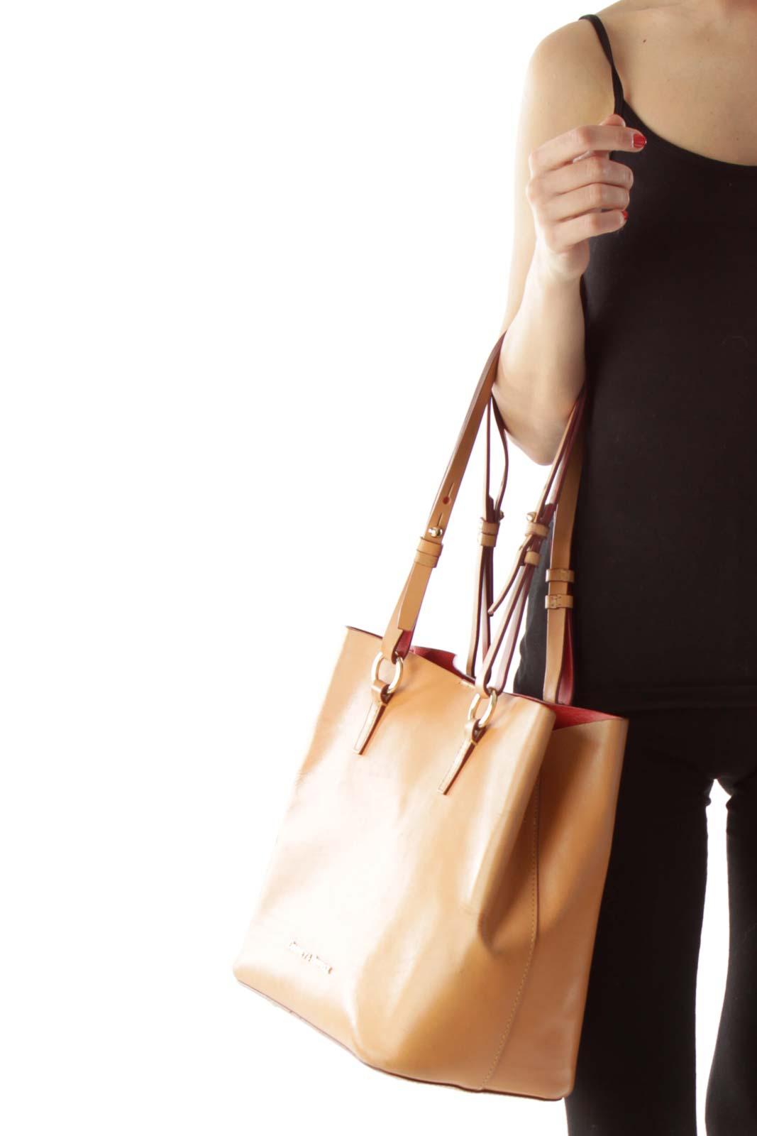 Brown Gold-Detailed Tote Bag
