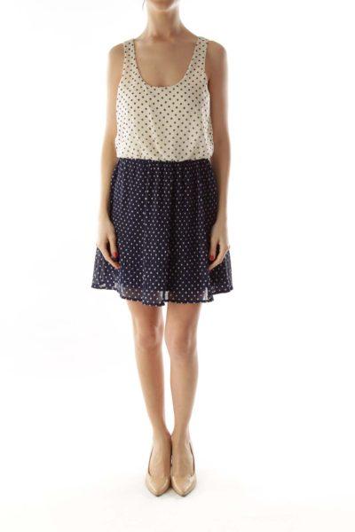 White and Navy Polka-Dot Pleated Dress