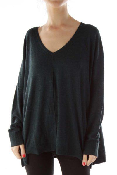 Green V Neck Oversized Sweater