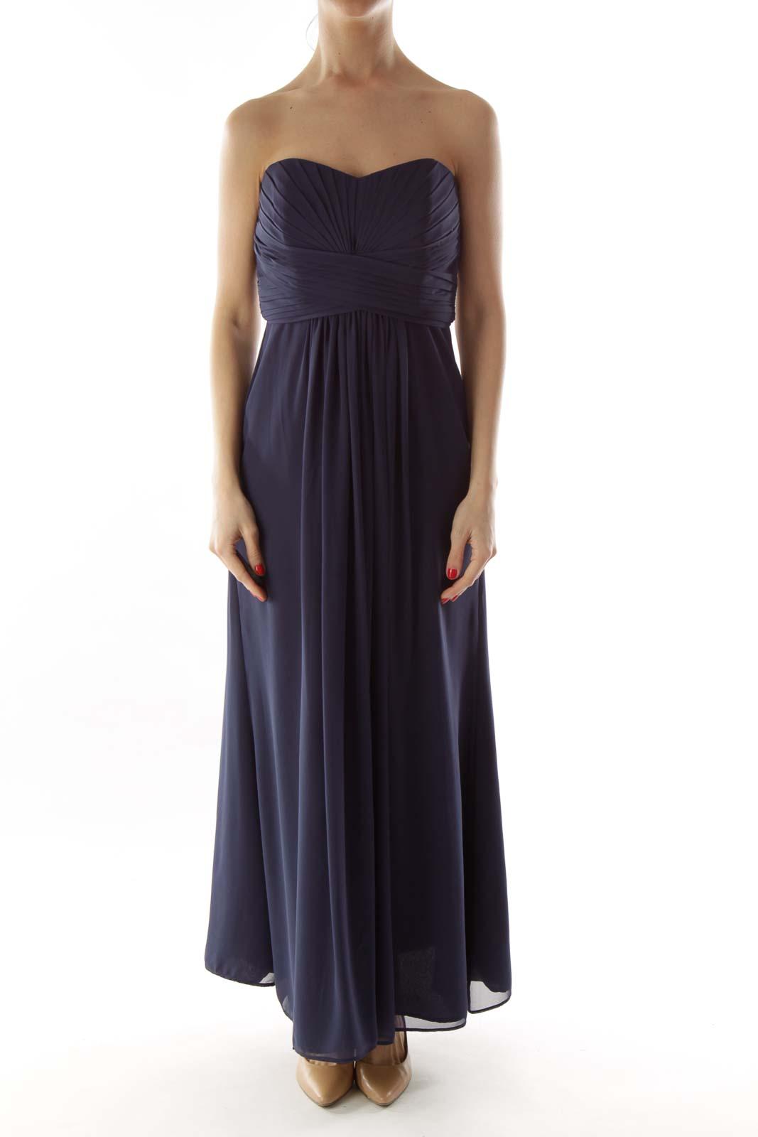 Navy Pleated Strapless Dress f395ed13c4286