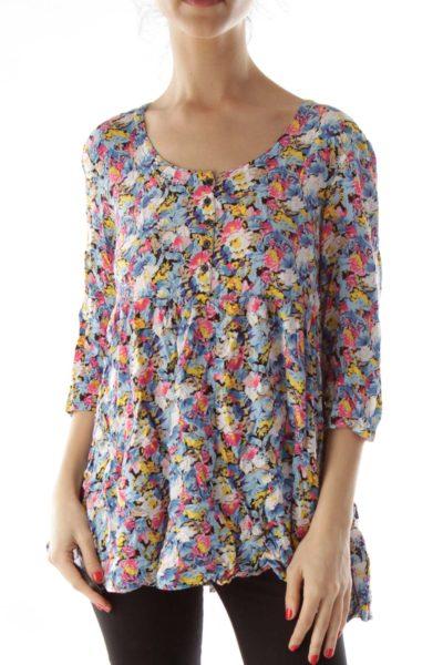 Multicolor Buttoned Floral Shirt