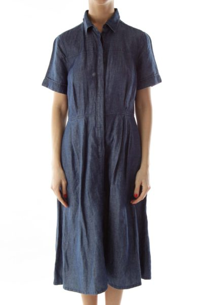 Blue Denim Buttoned Pocketed Dress