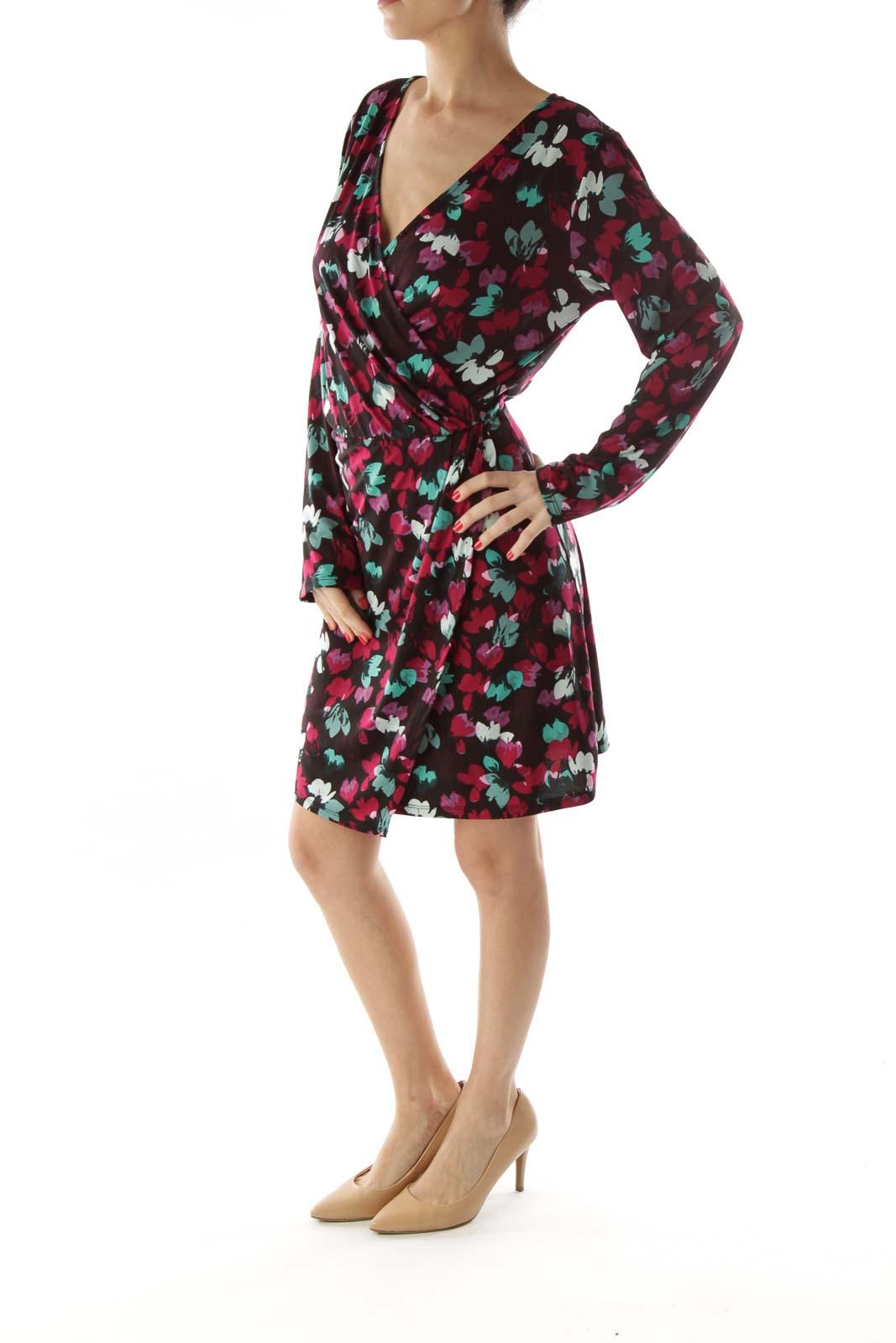 Multicolor V-Neck Wrap Dress