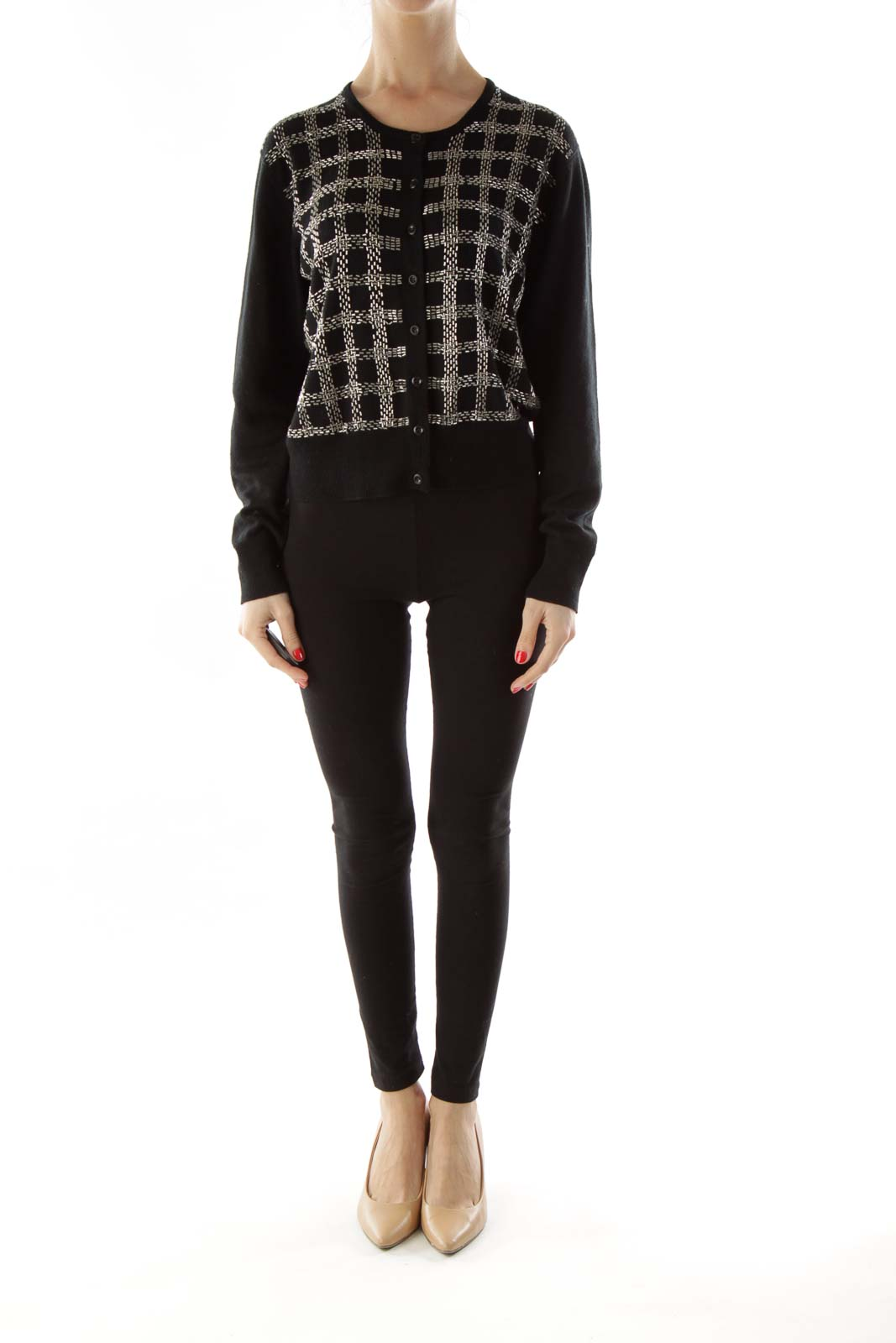 Shop Black Beaded Buttoned Cardigan clothing and handbags at ... 8b0aa5c6d011b